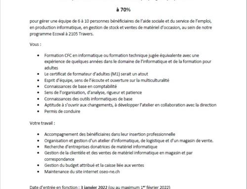 Offre d'emploi : Responsable d'atelier Informatique/logistique/vente à 70%